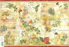 Ricepaper/Decoupage paper,Scrapbooking Sheets Vintage Flowers and Poems Bird