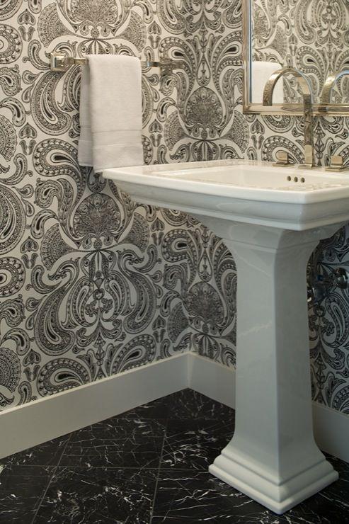 ebony & ivory rose floral damask wallpaper | black and white