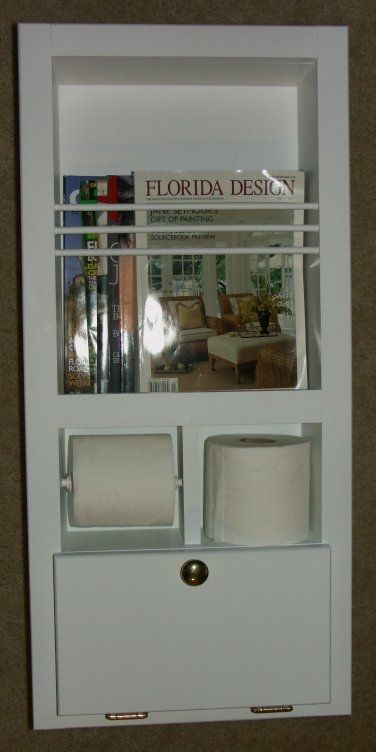 In Wall Magazine Rack Toilet Paper Holder Plus Storage