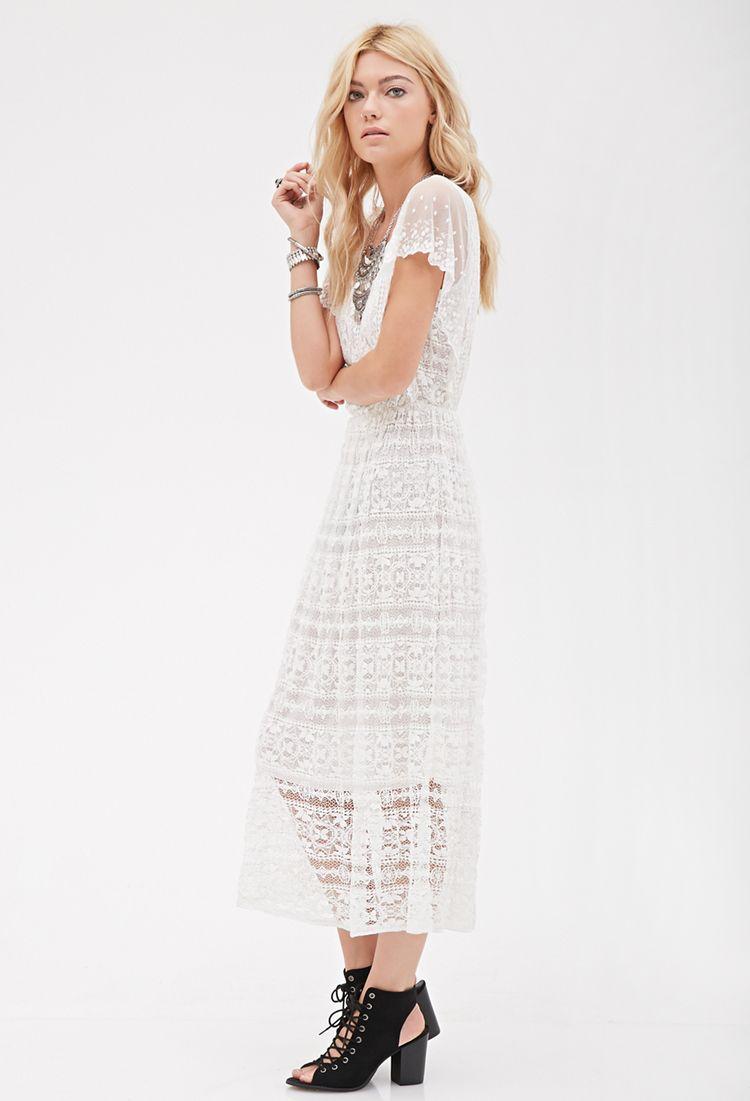 Crochet Lace Midi Dress Everyday Dresses White Maxi Dresses Cream Midi Dress