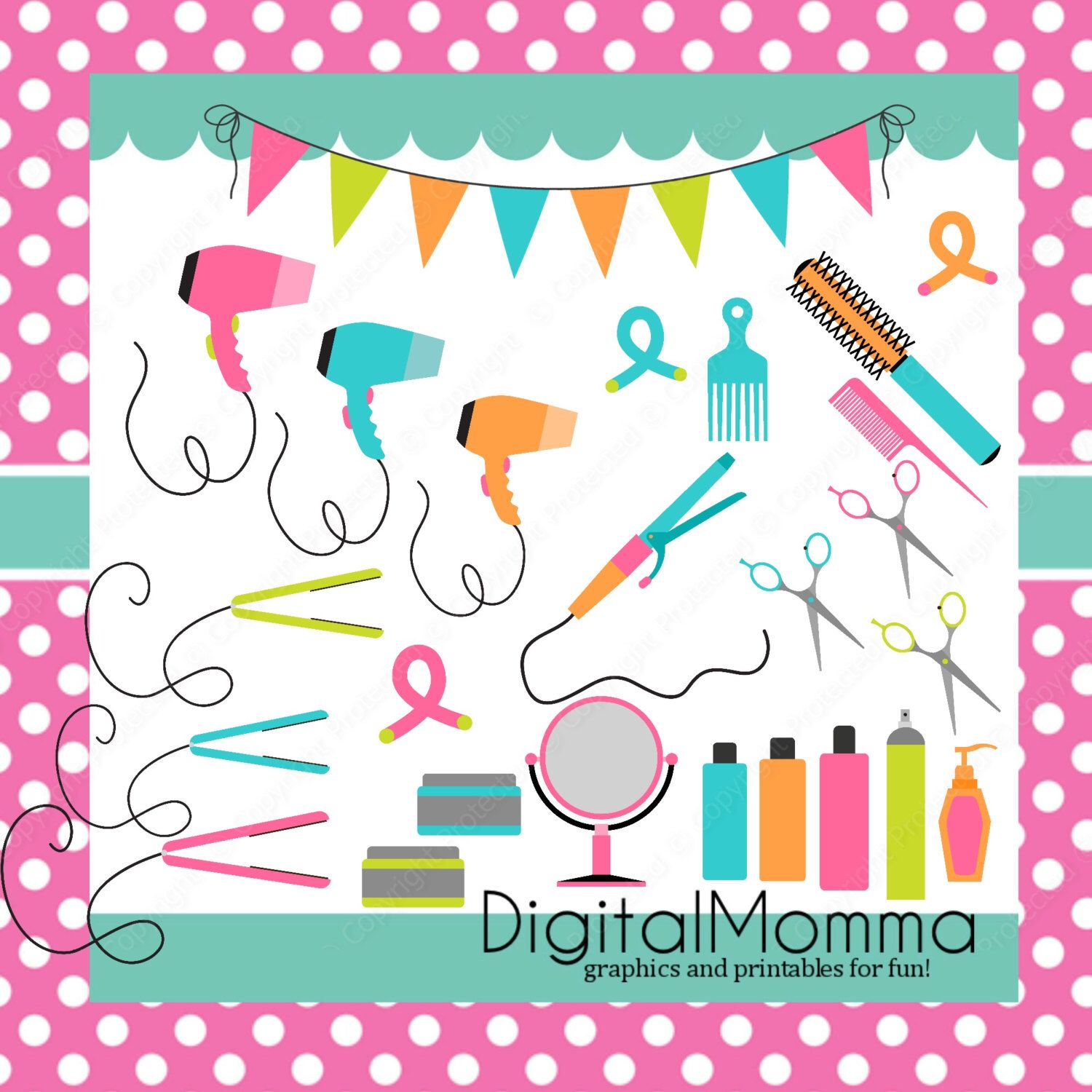 Beauty Salon Hair Care Dresser Cosmetology Clipart Set Instant Download
