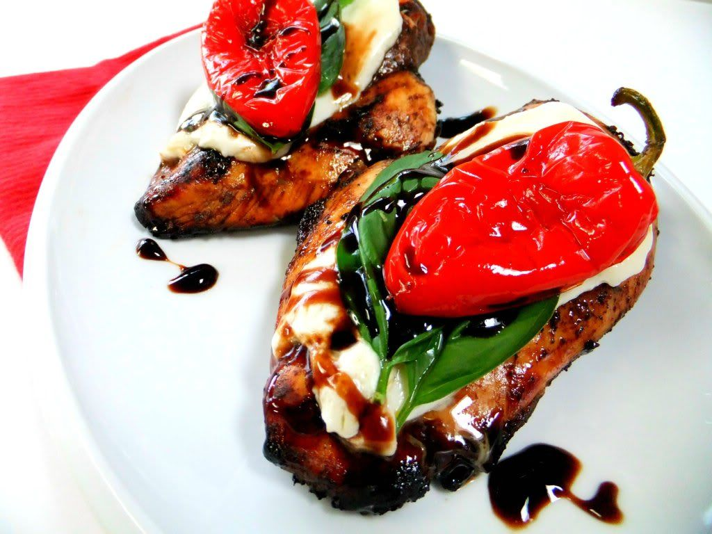 Chicken marinated in balsamic vinegar, olive oil & crushed garlic topped with a basil leaf, mozzarella and a tomato slice or red pepper....my favorites all in one!!