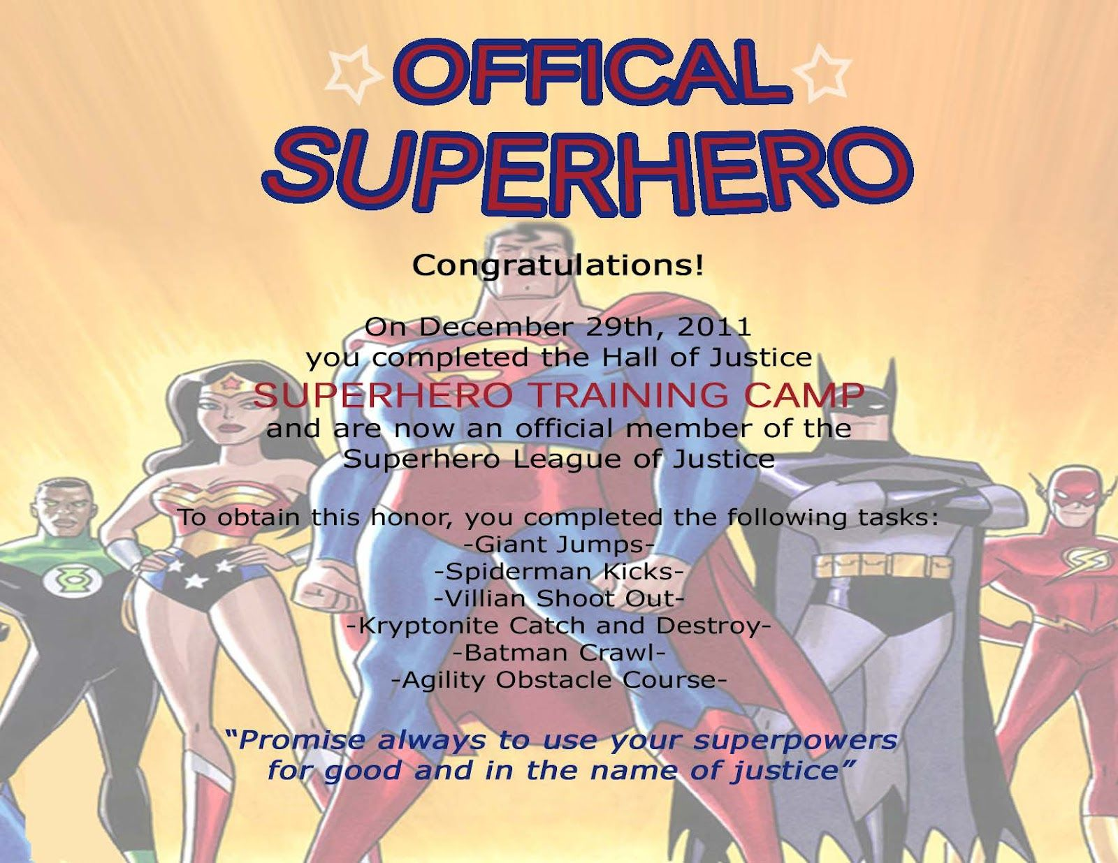 Superhero Training Certificate Superhero Certificates Made And