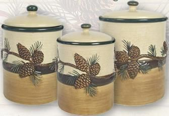 I Have These In My Kitchenpine Cone Lodge Kitchen Canister Set Custom Kitchen Jar Set Design Inspiration