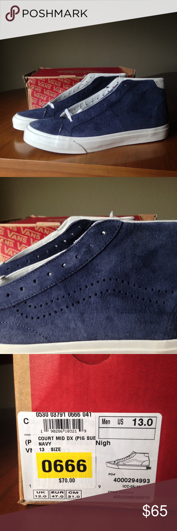 Men s Vans SZ 13 navy Blue court mid pig suede sk8 Brand new with box men s  Vans skate shoes. These are a navy suede shoe. High top. US size 13 83d89f0e4