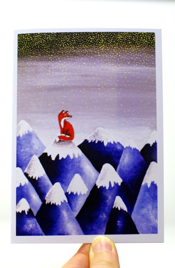 The Mountains Are Calling Card Mountain Art Card Christmas Card