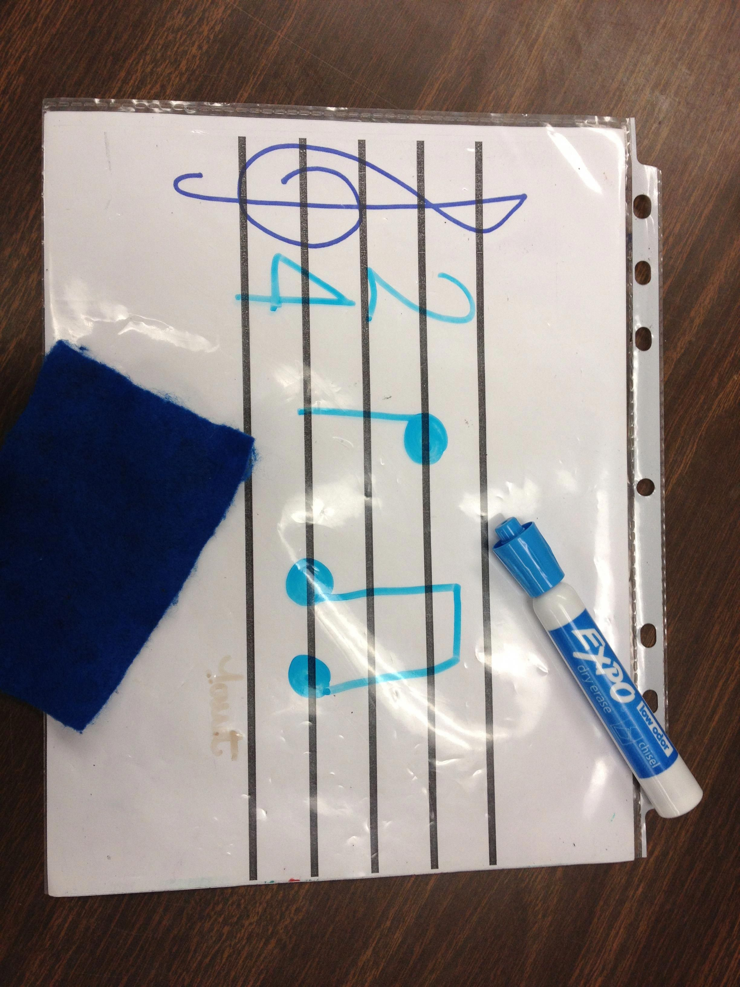 Staff Paper With A Treble Clef Drawn On Put Into A Sheet