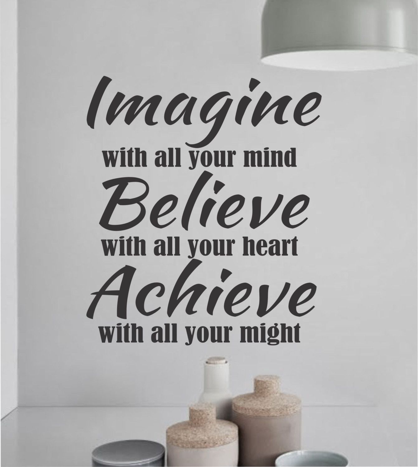 Inspirational Sports Quotes Imagine Believe Achieve Decal  Vinyl Lettering  Wall Quotes