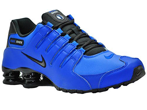 new styles 557a5 58985 Nike Men s Shox NZ Hyper Cobalt   Black   Metallic Silver Leather  Cross-Trainers Shoes