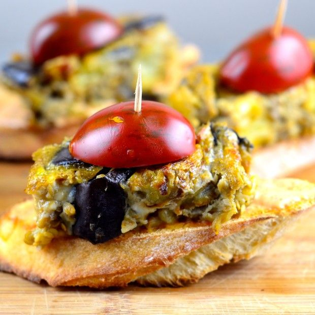 Tapas From Spain Spicy Eggplant Frittata Montadito Recipe Gourmet Appetizers Spanish Vegetarian Recipe Recipes