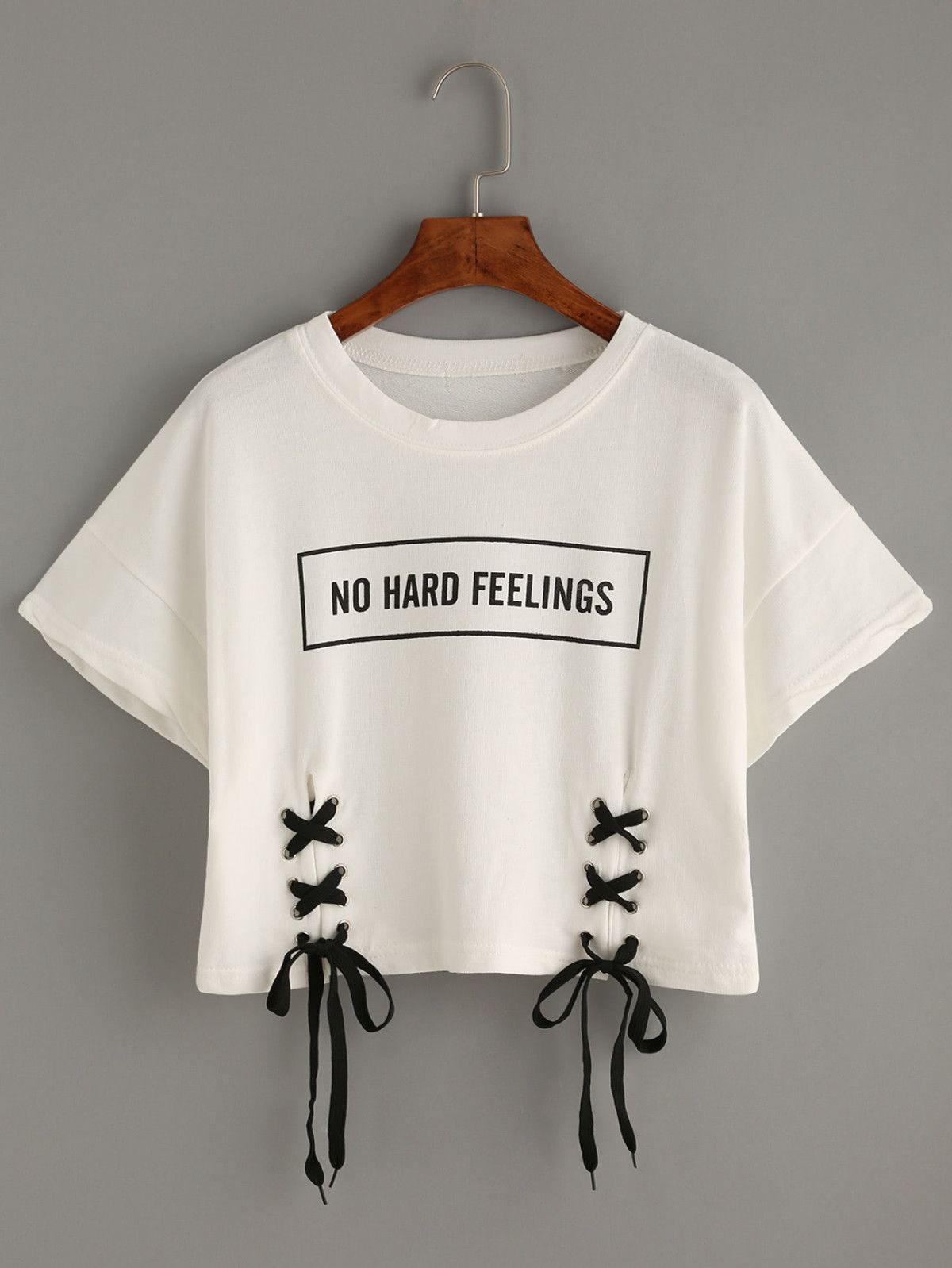 8d49dab3a81187 White Letter Print Lace-Up Crop T-shirtFor Women-romwe