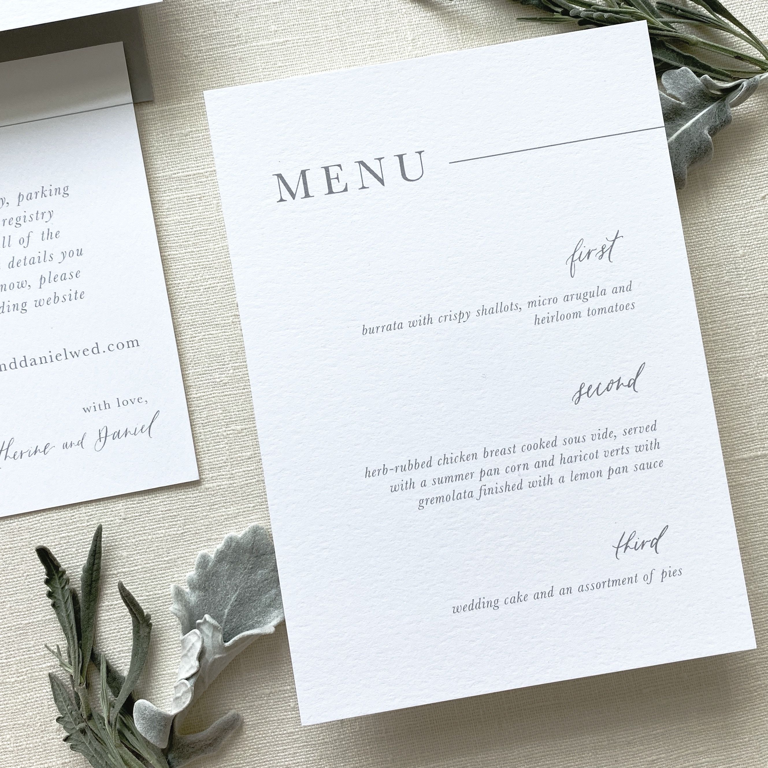Gray And White Modern Wedding Invitation Menu Card With Touches Of Modern Calligraphy Simp Simple Wedding Menu Custom Wedding Invitations Elegant Wedding Menu