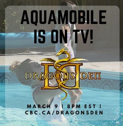 Great to see AquaMobile, one our clients, taking part in the successful show Dragons'Den tonight on CBC. We love their idea and can't wait to watch them pitch their ideas on TV. Well done! www.aquamobileswim.com