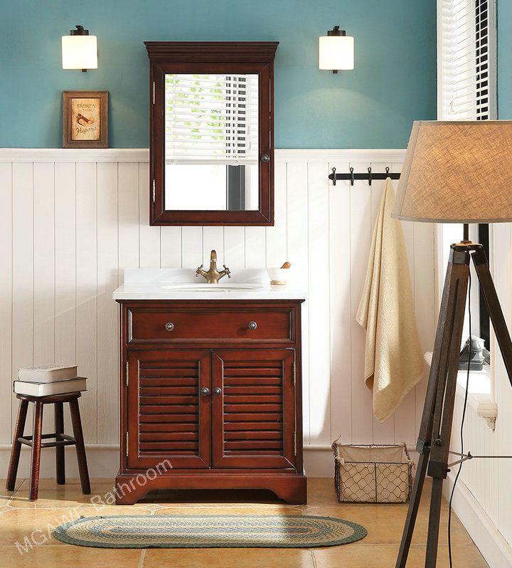 Solid Wood Bathroom Cabinet Rubber Wood Bathroom Vanities Badkamer