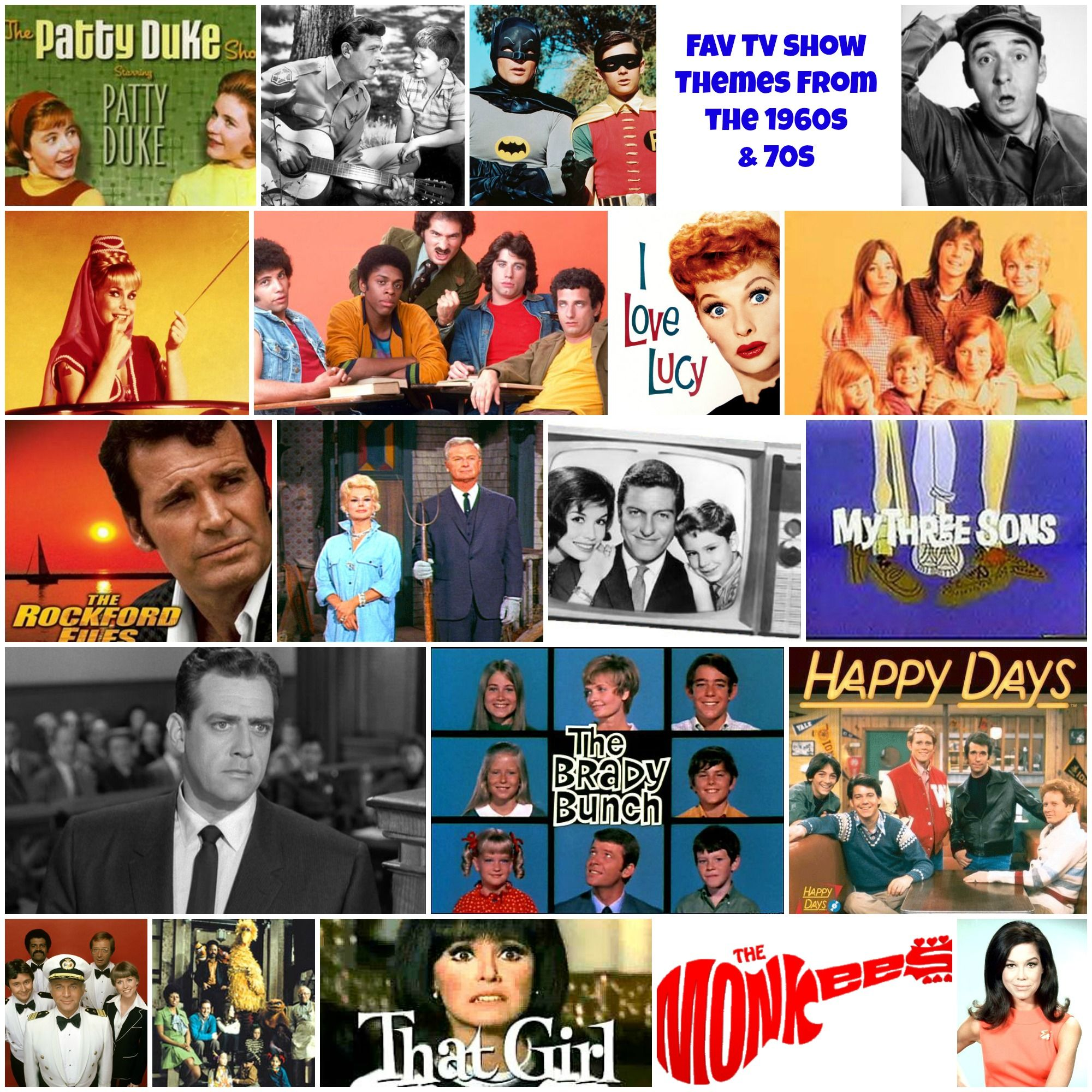 TV theme songs of the 1970s | Jeanie Rhoades // Thought Collage | Tv theme  songs, Tv themes, 1960s tv shows