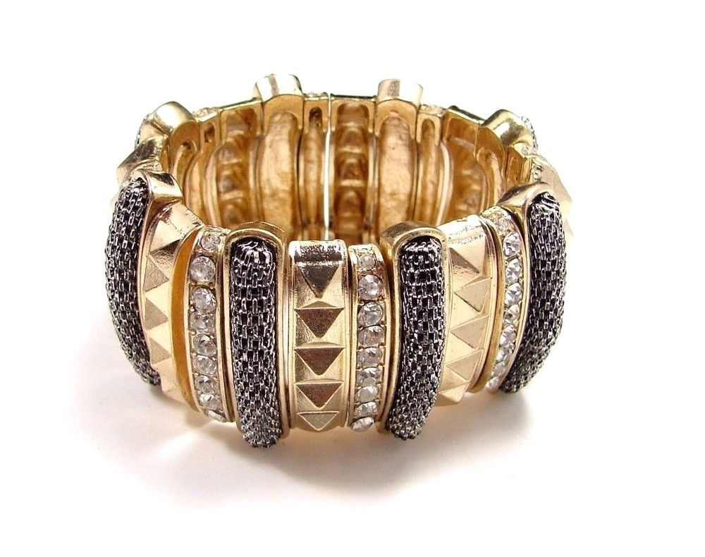 Bold rhinestone stretch bracelet beautiful wide gold tone textured