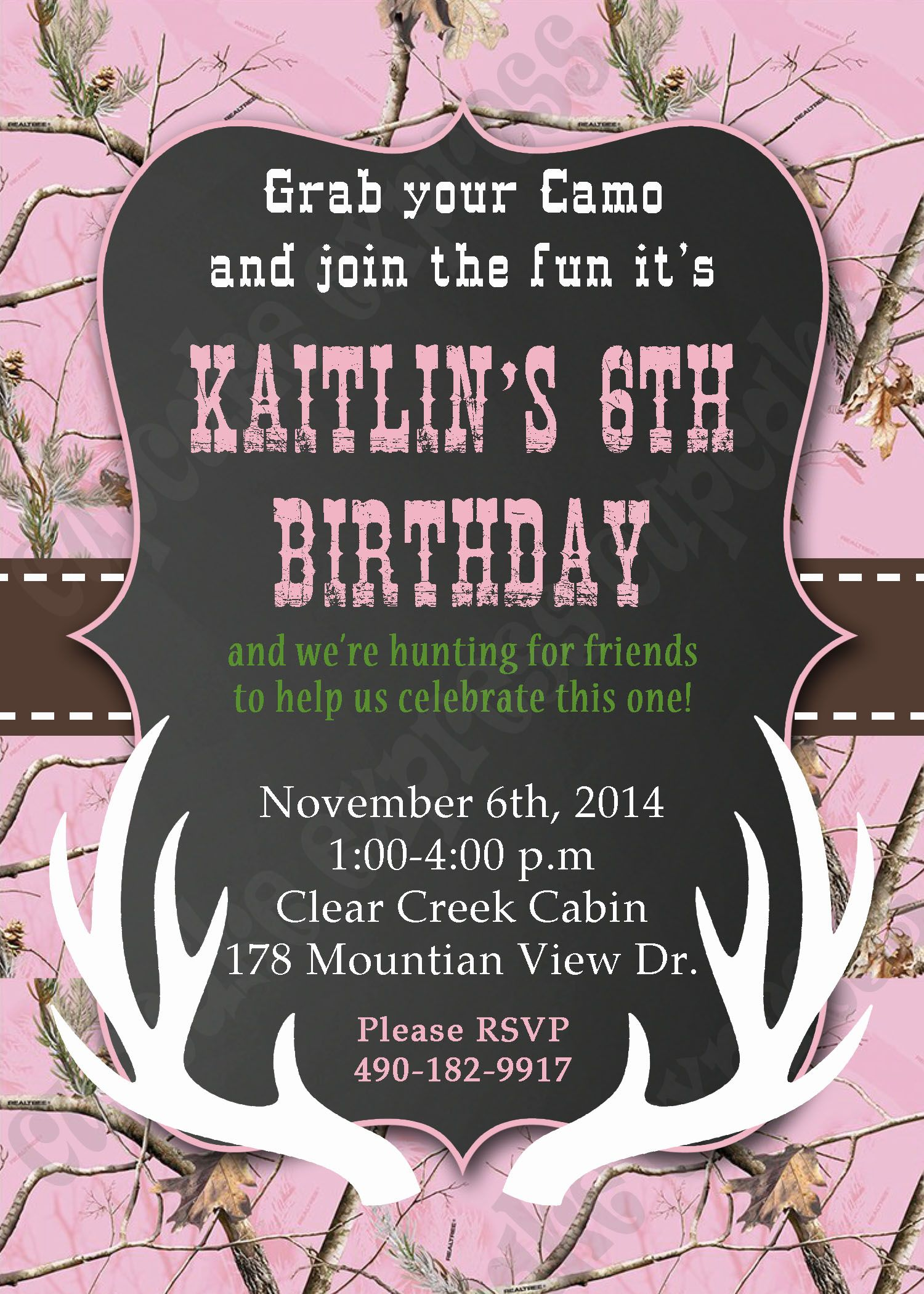 camo hunting deer invitation pink realtree camo Birthday party