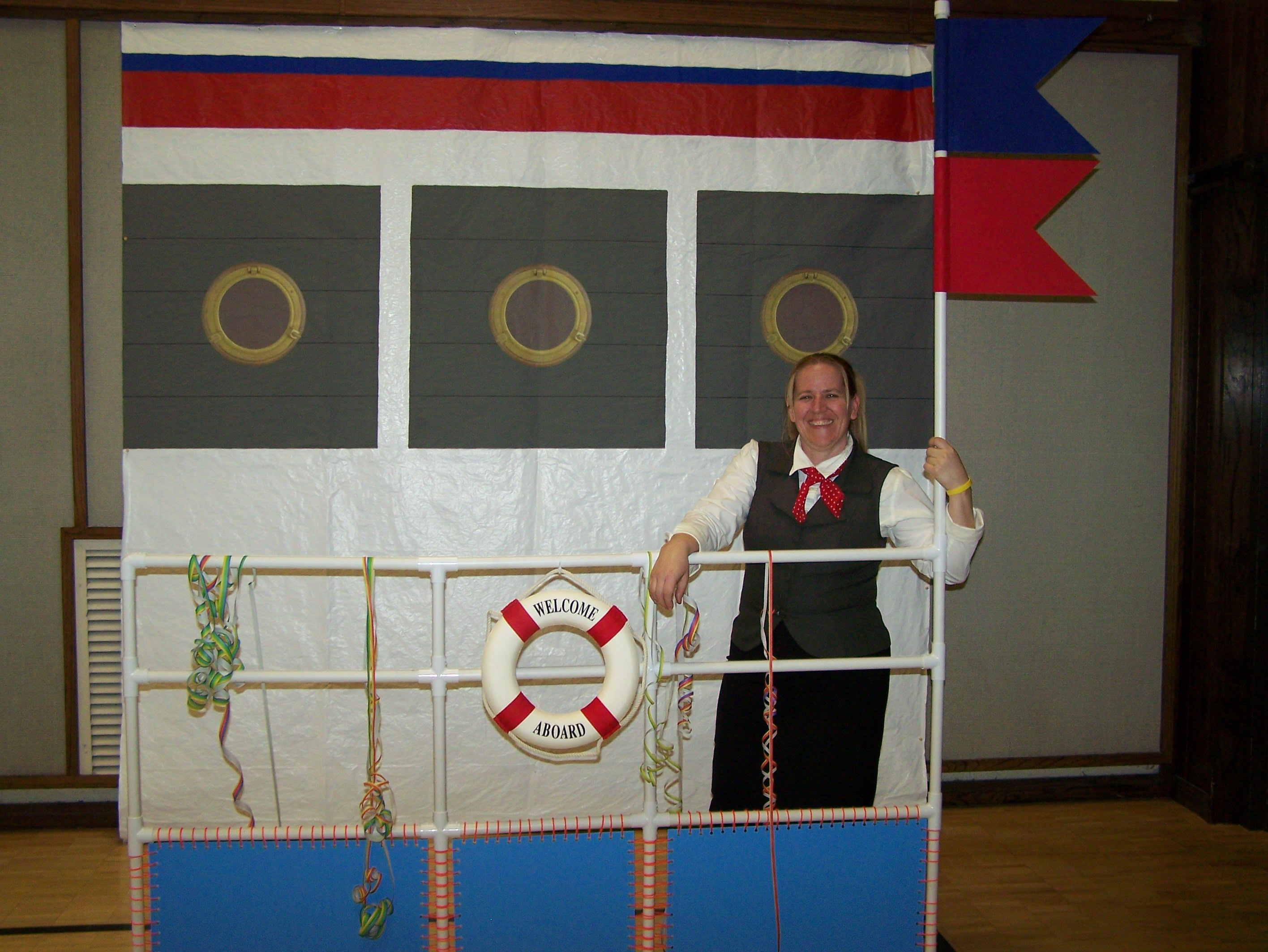 Welcome aboard boat ships life ring clock - Made A Port Of Call From Pvc Pipe And Painted A Ship Background For A Church