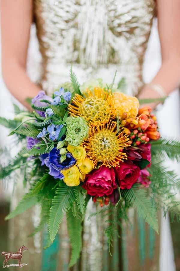 Wedding Wednesday Rainbow Flowers