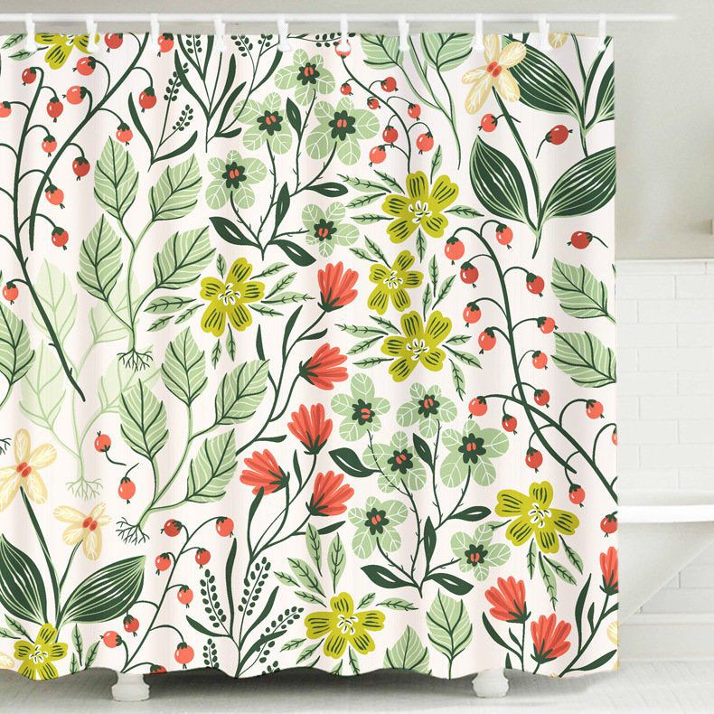 Botanical Shower Curtain Leaves Plant Shower Curtains Waterproof