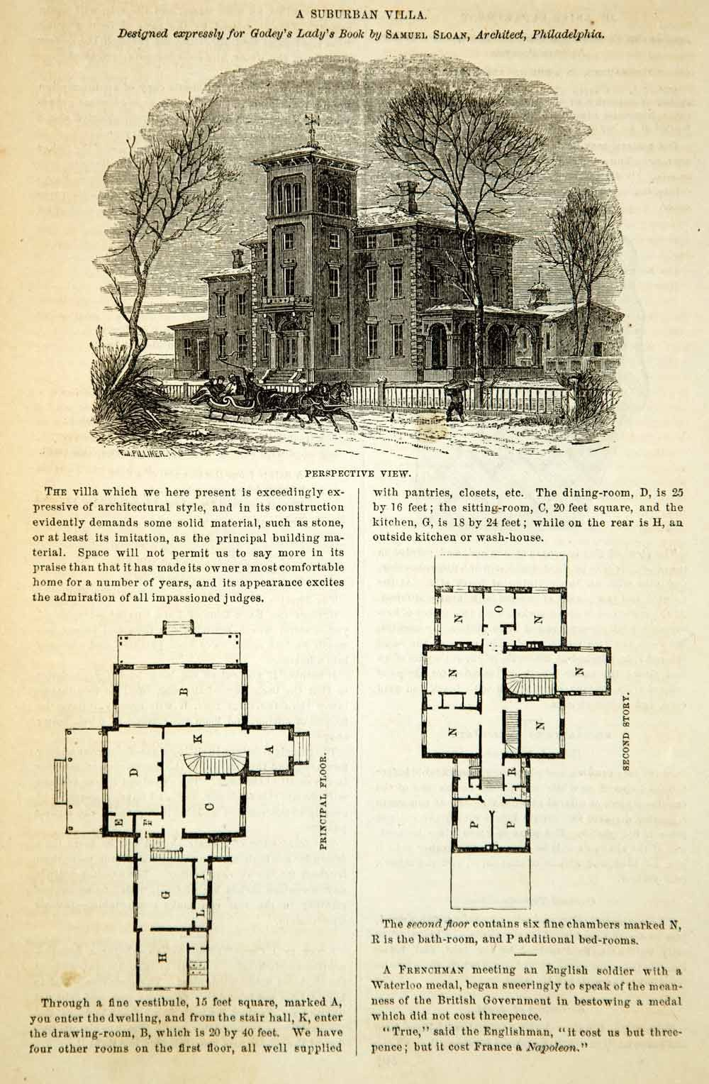 1862 Wood Engraving Victorian Architecture House Villa Floor Plans Sam Victorian House Plans Craftsman Style House Plans Floor Plans