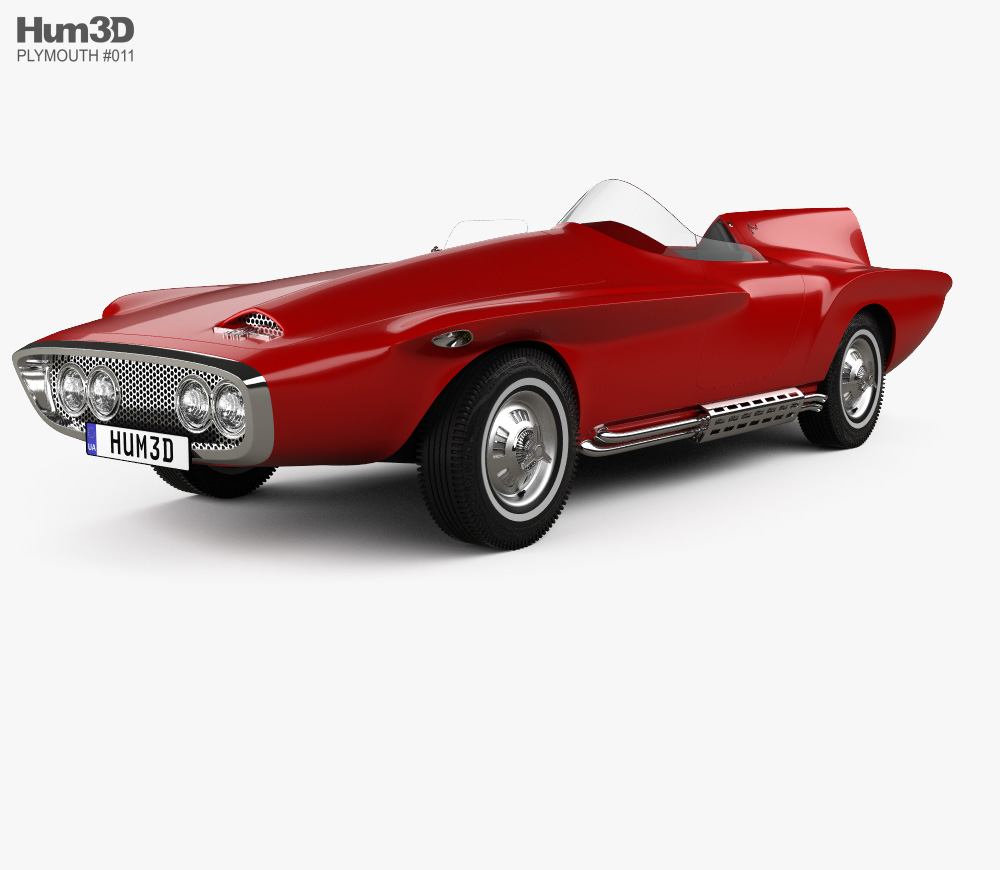 3d Model Of Plymouth Xnr 1960 3d Model Plymouth Model