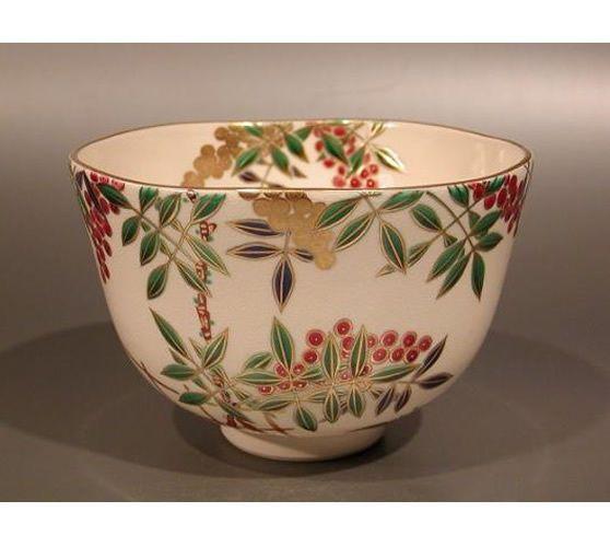 tea011 Japanese Tea Bowl Kyo Ware by Sagami Ryusen NANDINA