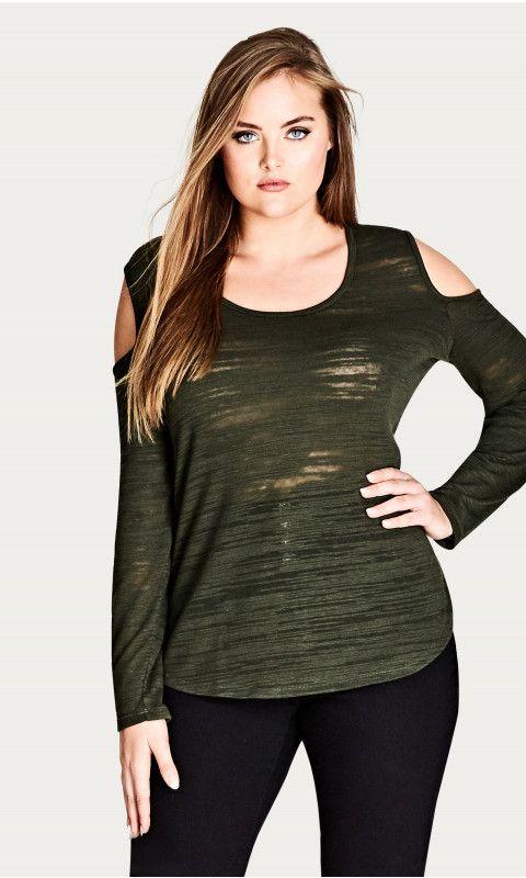 b24881668431e1 Shop Women s Plus Size Long Sleeve Cold Shoulder Top - Tops