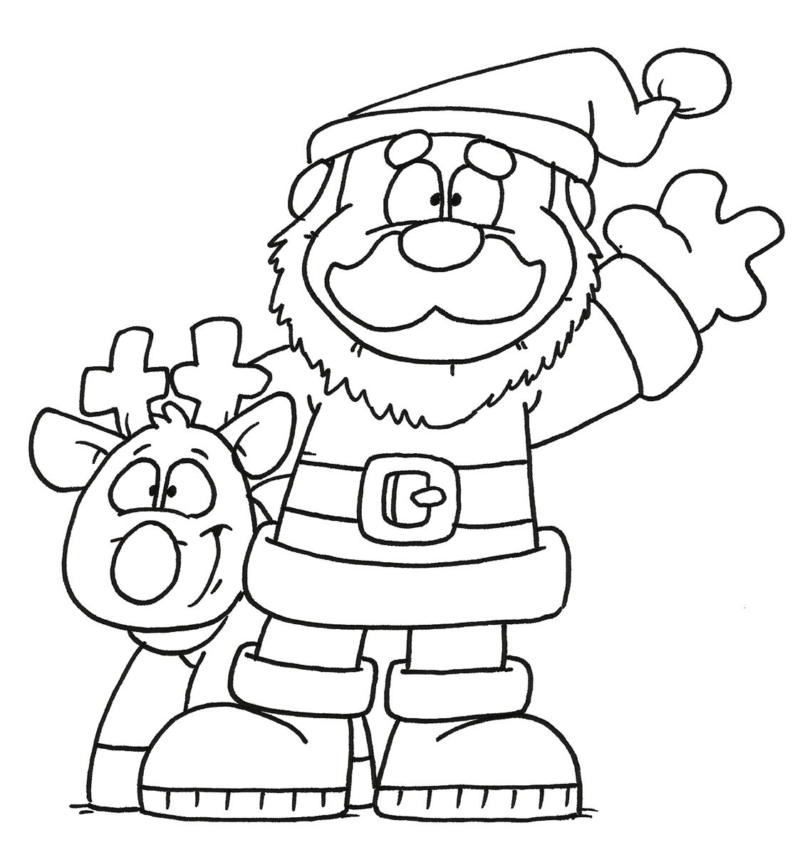 dustin pike freebie digi - santa & reindeer - bjl | Coloring Pages ...