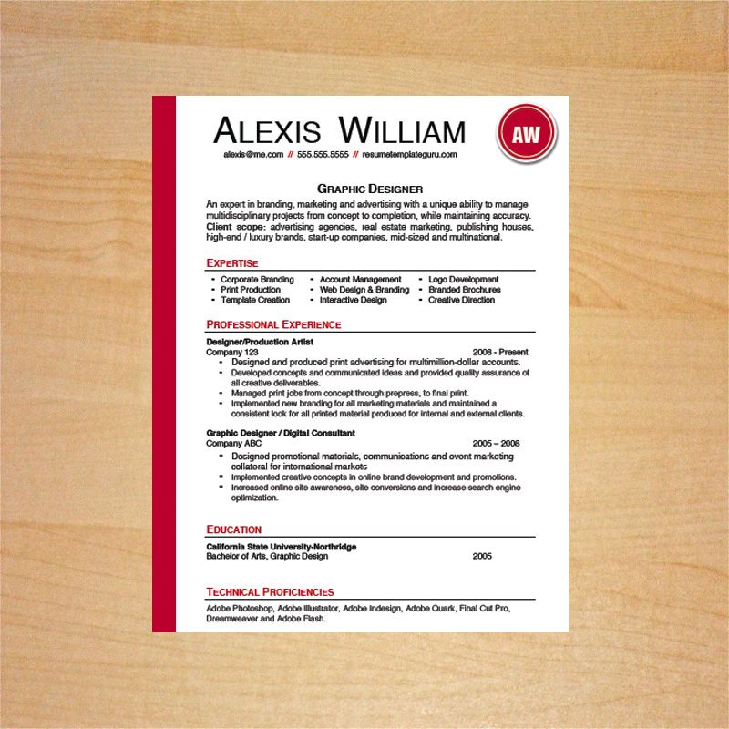 Graphic Designer Resume and Cover Letter Template Resume - resume and cover letter template microsoft word