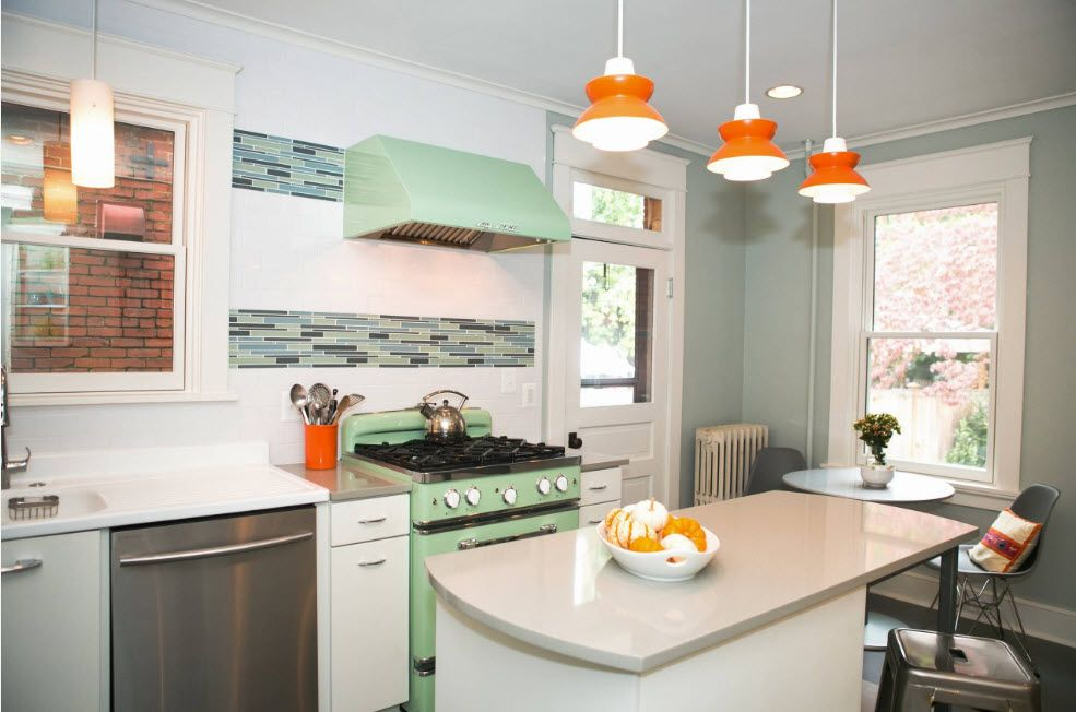 Pistachio color in the interior on the photo house - Narrow kitchen island with seating ...