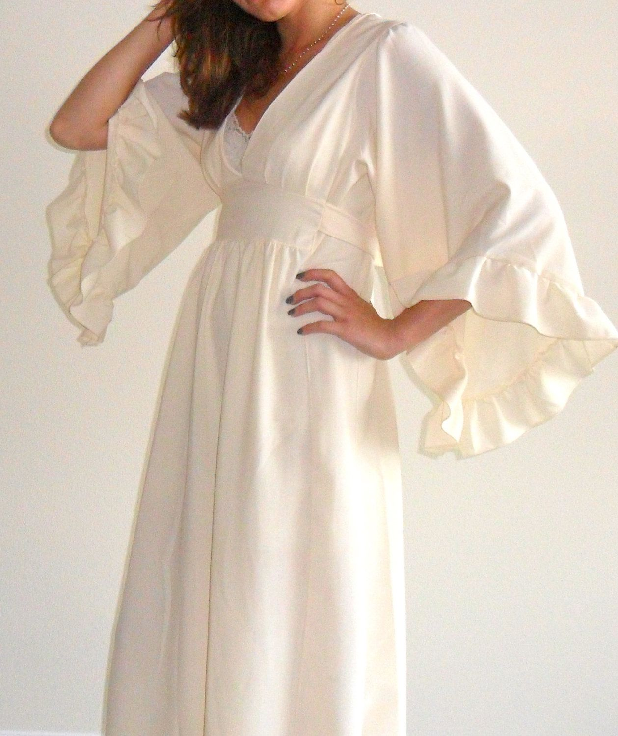 Bohemian hippie wedding inspired creamcolored maxi prarie dress