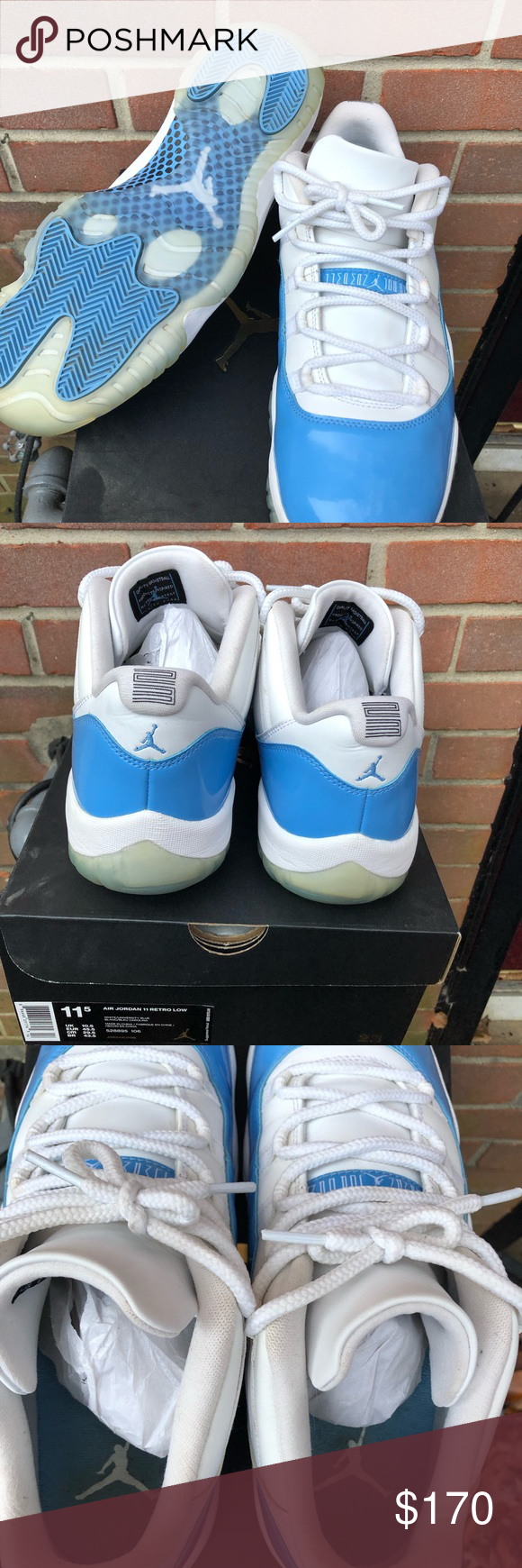 48bac9cb08a Air Jordan 11 low UNC (2017 release) Worn once 11.5 UNC Jordan 11 low's.  These have literally been on my shoe shelf collecting dust bunnies (see box  in ...