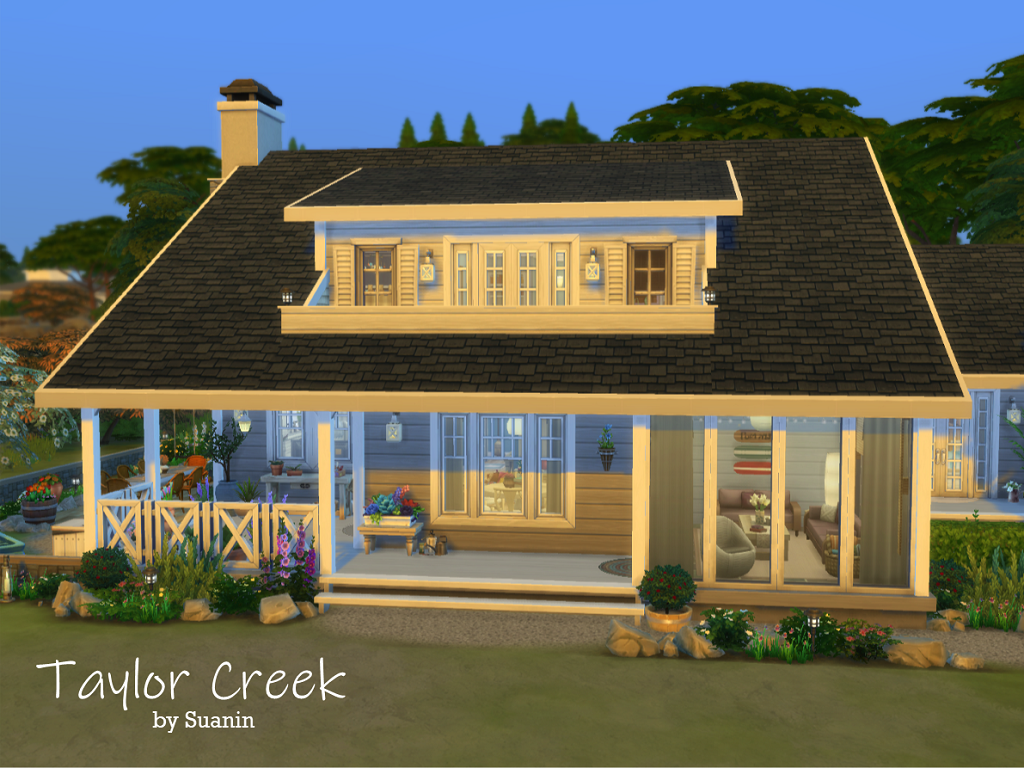 Taylor Creektaylor Creek Is A Three Bedroom Family Home On Windenburg Island Offering Beautiful Views Of The Oce Sims House Sims 4 House Building Sims 4 Houses