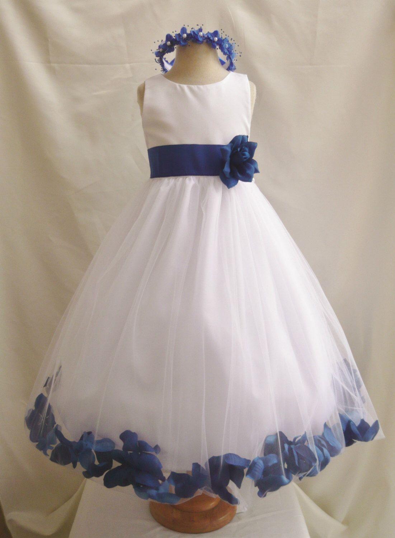 Flower girl dress ivory rose petal dress with blue navy