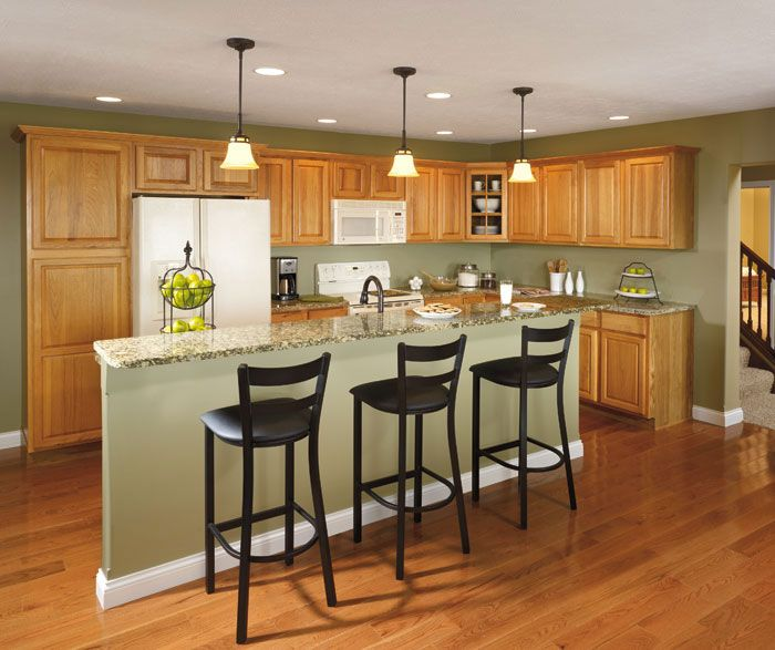 Hickory Kitchen Cabinets--green Gray Walls?