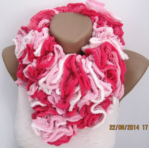 Photo of Items similar to pink and white scarf  knitting scarf ruffle scarf women scarf pattern scarf special gift scarf fashion scarf triangle scarf neckwarmer on Etsy