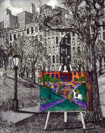 Easel in the Park (Etching)