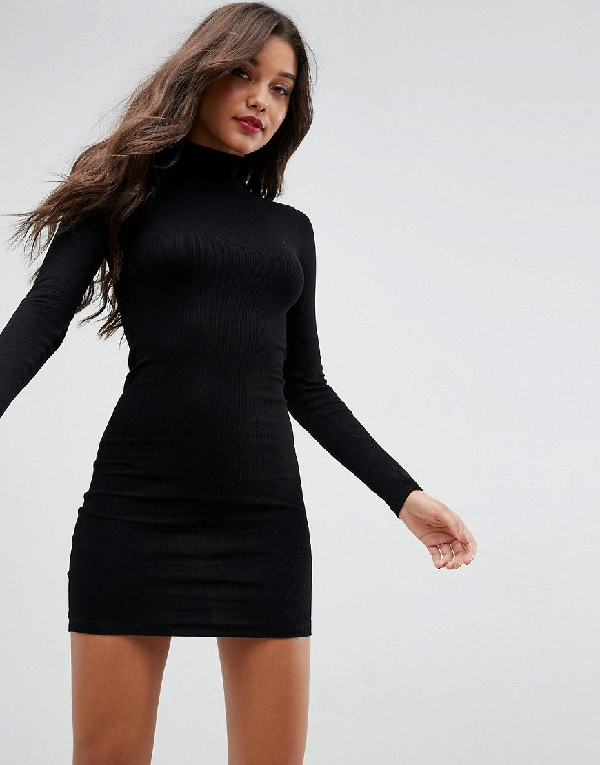 e99b37fd7c ASOS Mini Rib Bodycon Dress with Turtleneck - Black