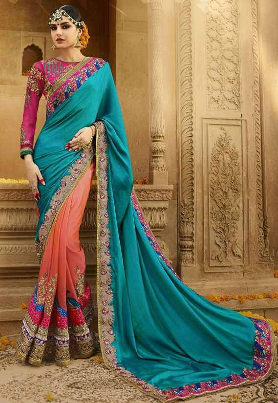 ee7ea56409 Spectacular Salmon Orange and Firozi Blue #Saree | Designer Sarees ...