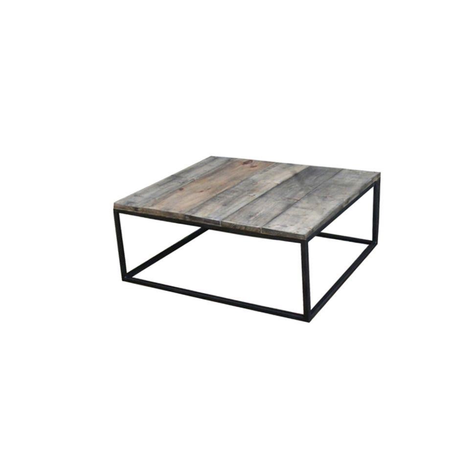Table Basse Acier Et Bois Effet Vieilli Style Industriel Loft  # Tv Qui Sort Du Meuble Fabricant