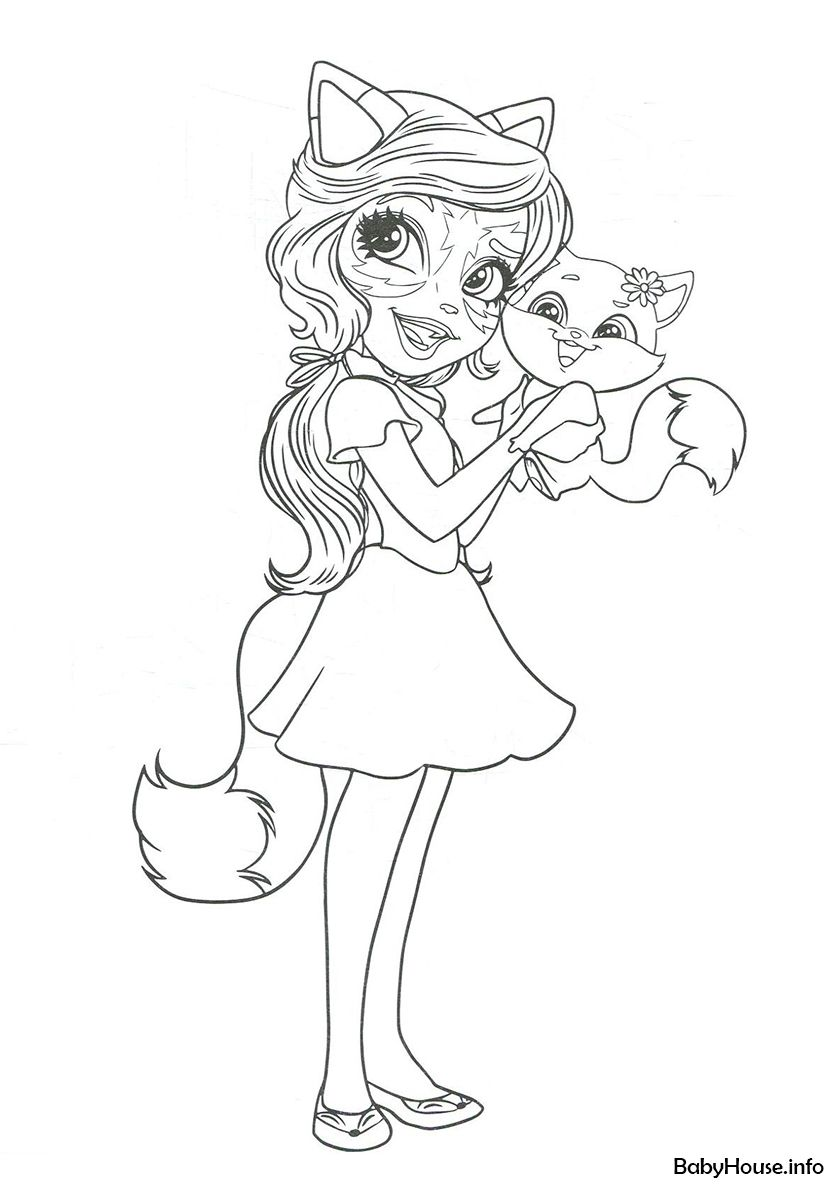 Felicity Fox And Flick High Quality Free Coloring From The Category Enchantimals More Printable P Cat Coloring Page Fox Coloring Page Barbie Coloring Pages