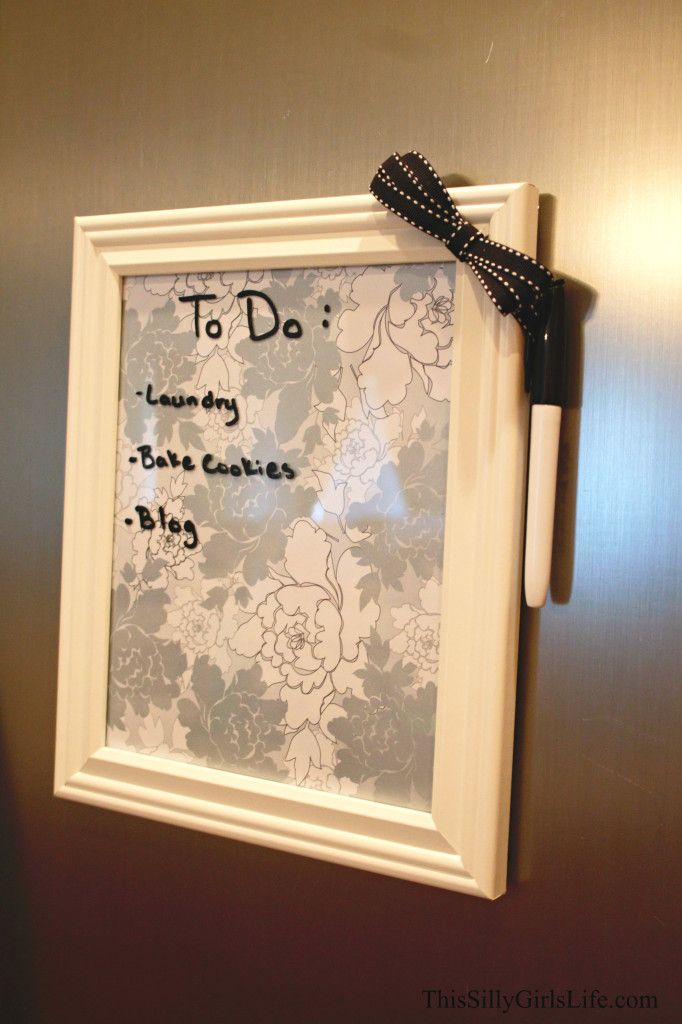 diy magnetic dry erase board just a picture frame and scrap booking paper aspirations. Black Bedroom Furniture Sets. Home Design Ideas