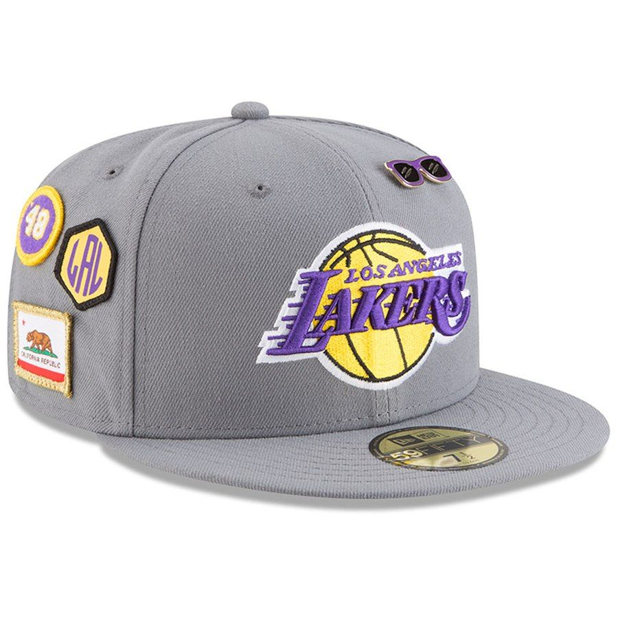 4950d9e1bd7f1 Men s Los Angeles Lakers New Era Gray 2018 Draft 59FIFTY Fitted Hat ...