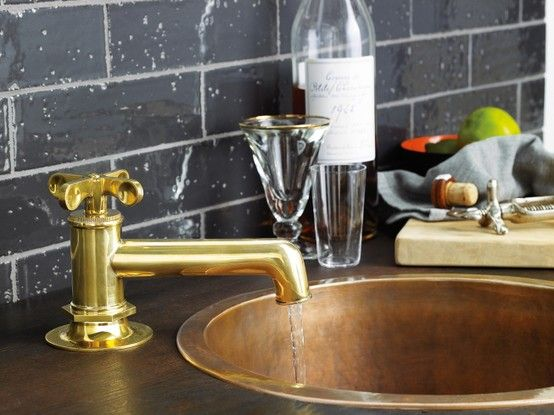 Henry Low Profile One Hole Deck Mounted Lavatory Faucet With Metal Cross Handle Gold Faucet Waterworks Kitchen Lavatory Faucet