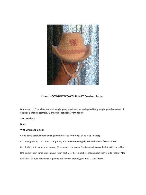 COWBOY COWGIRL Hat crochet.pdf | CROCHET | Pinterest | Gorros ...