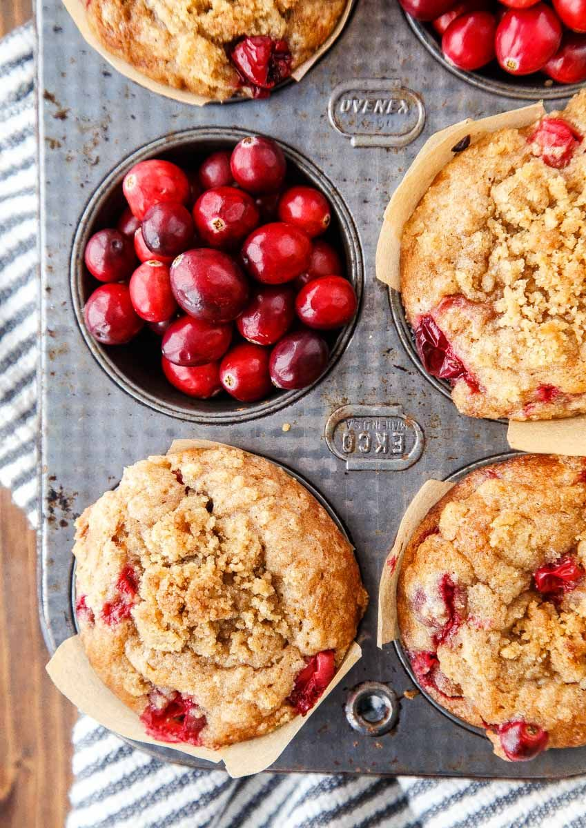 Easy cranberry coffee cake muffins with streusel
