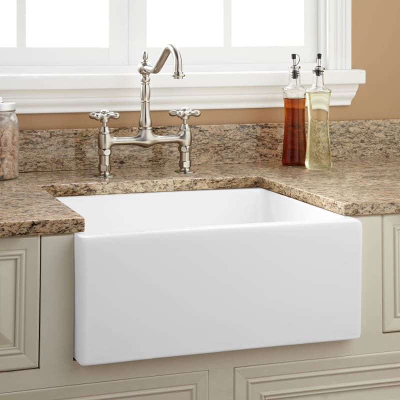 Signature Hardware 926891 24 Fireclay Farmhouse Sink White