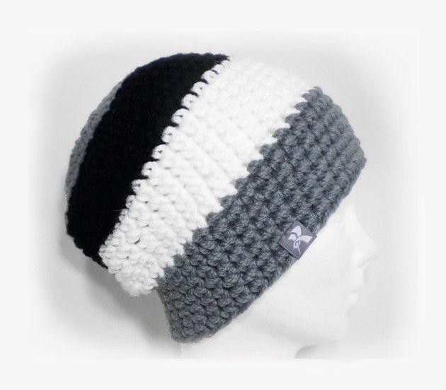 ca08a67ee65 Slouchy Floppy Beanie Grey Black   White Crochet Winter Hat Snowboard Ski  Surf Skate  pompomhat  CrochetHat