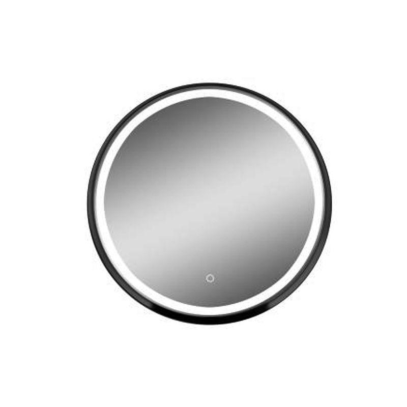Fluminia, Via, oglinda rotunda cu led si margine din metal, 60 cm, neagra